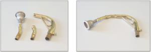 Diferentes partes del tudel del sousaphone